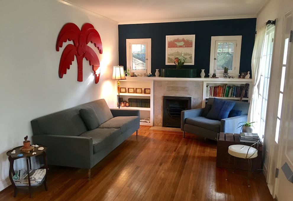 Living area with art and books.