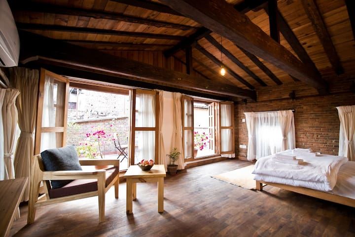 Master bedroom with attached roof terrace and AC