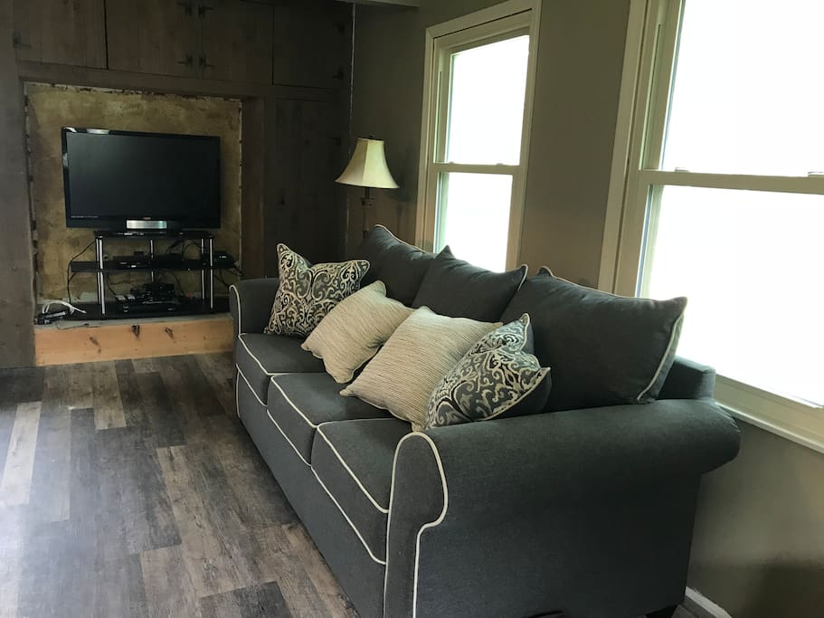 Family room with queen sleeper sofa