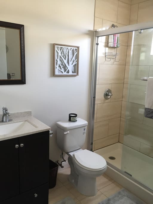 Your bathroom. Clean, large shower, equipped with hairdryer and other toiletries.