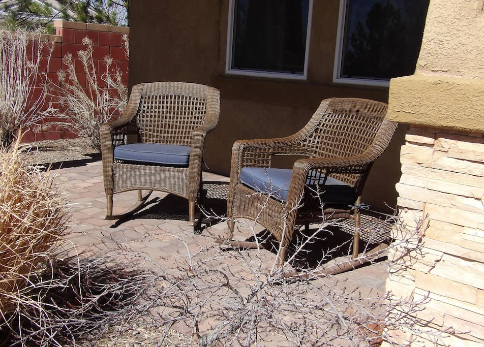 Enjoy the NM sunshine in our front porch rocking chairs