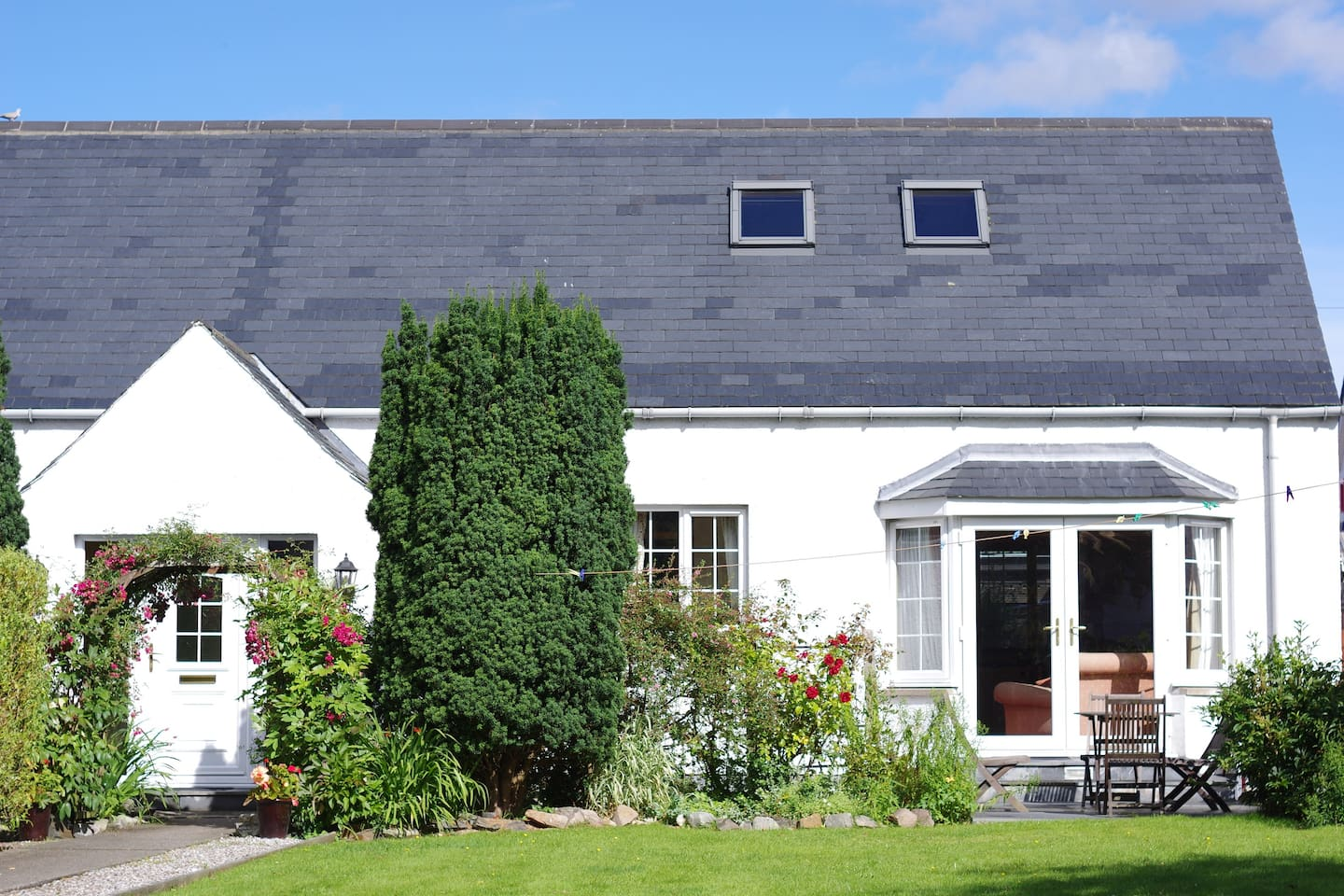 Front of cottage with private garden