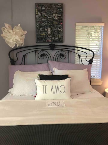 Queen iron bed with Designer bedding