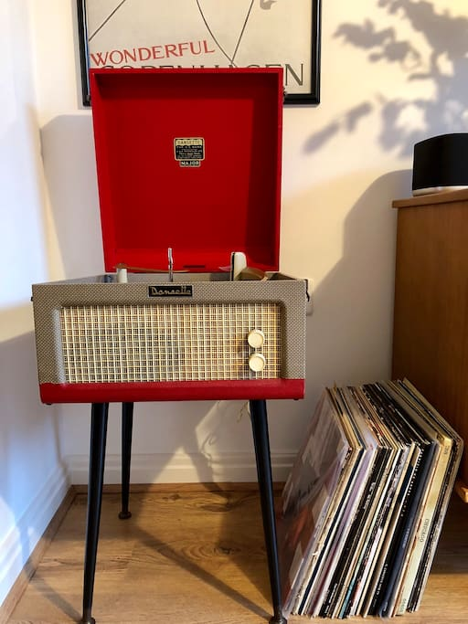 An original Dansette player with a selection of records you can listen to!