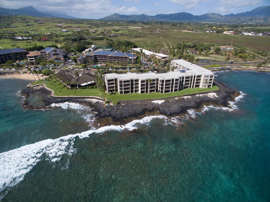 Aerial shot of Kuhio Shores. My unit is on the second floor jetting out closest to the ocean in the center.