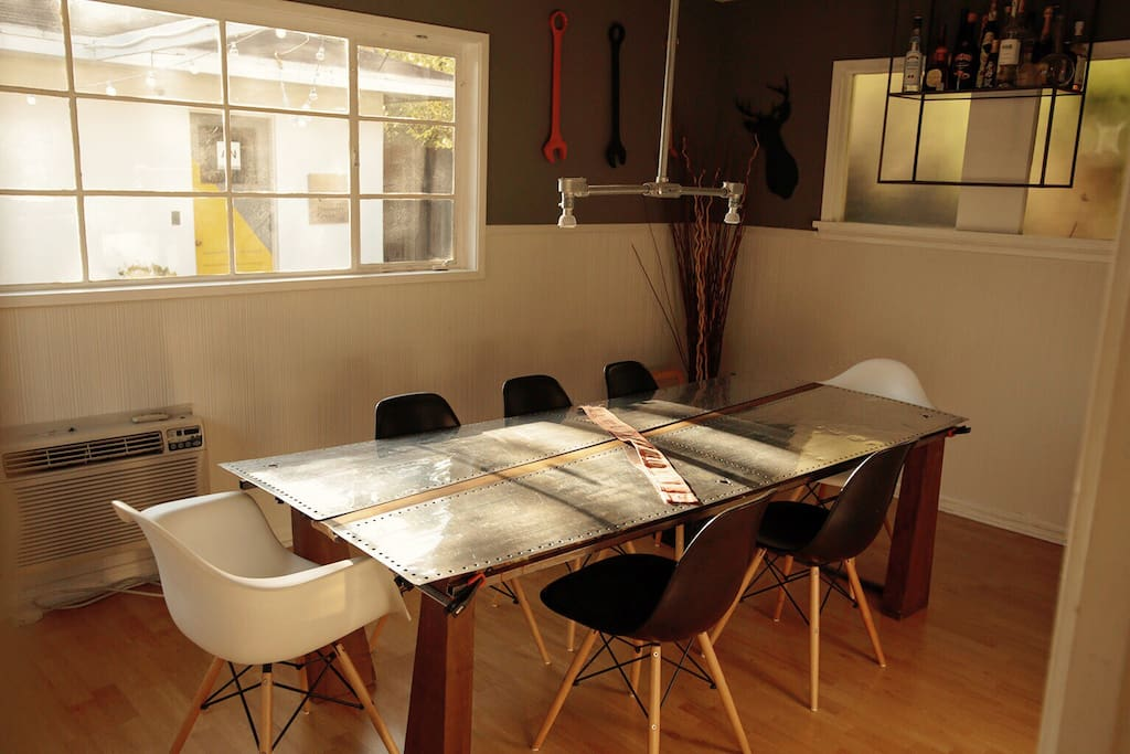 Dining room. specially made plane wing table