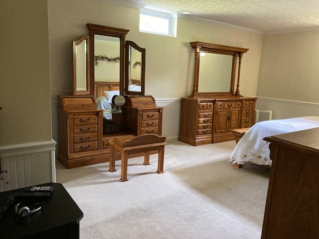 This bedroom is the coldest in the house and it has a king size bed. We have clothes in just one chest and half of the closet.