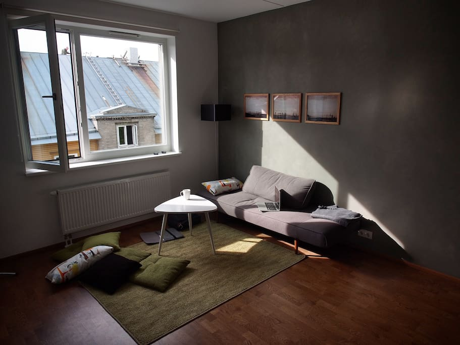 Living room facing Valgevase Street featuring heritage wooden houses