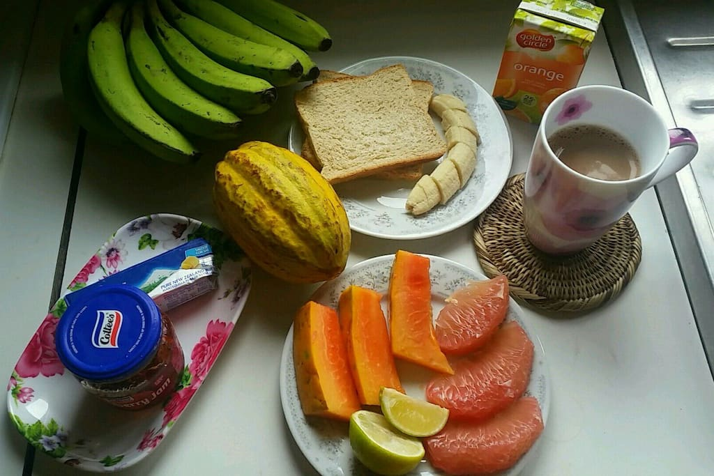 A light tropical breakfast, provided every day.