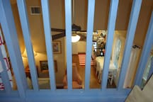 Your view looking down on the living area from the reading loft.