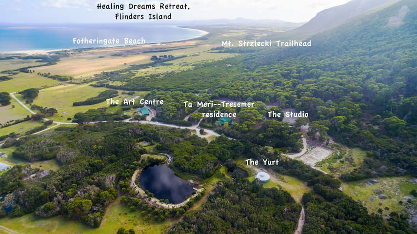 The Healing Dreams Property, with the Yurt and the Studio marked.