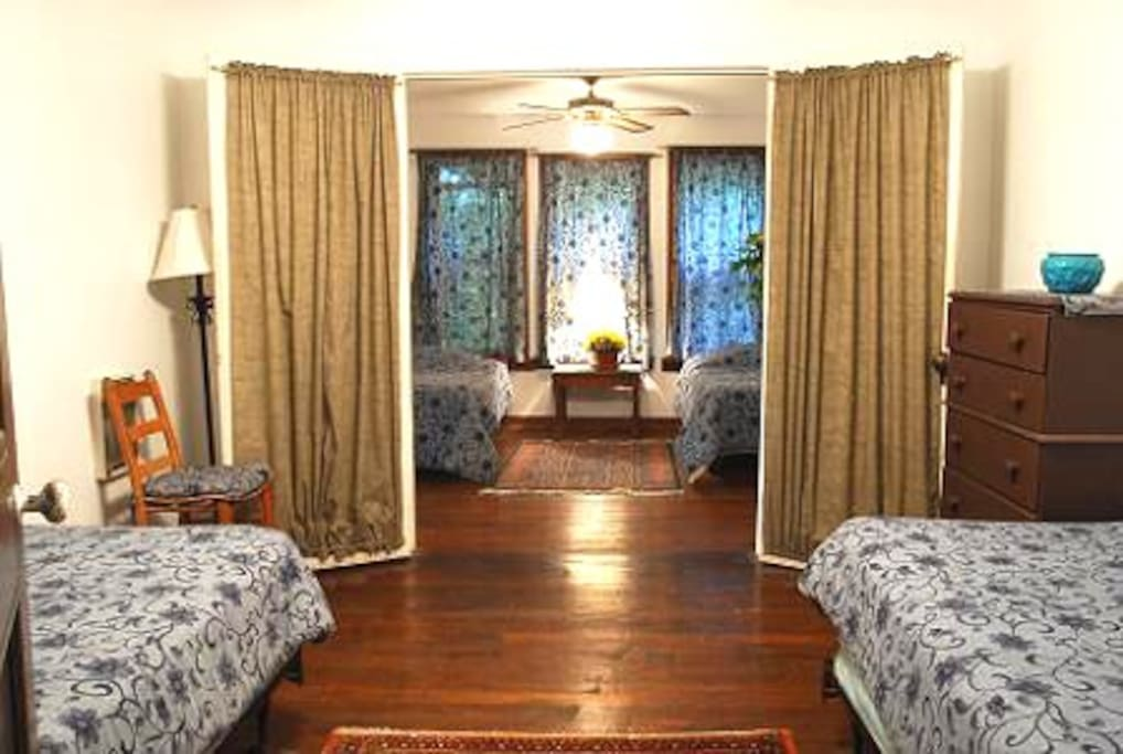 Pass-through bedroom with 2 twins & private bedroom with 2 twins