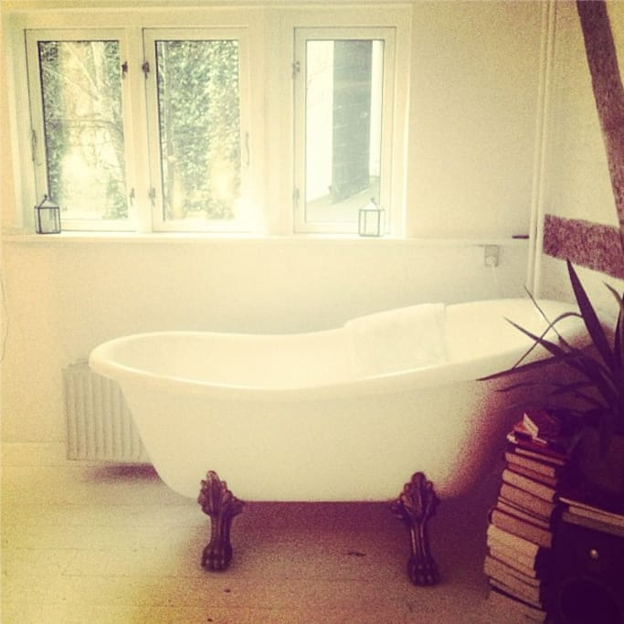 Classic Lion Foot Bath by the window at the opposite end of the living room. (Bit of a project to use, but can be used)