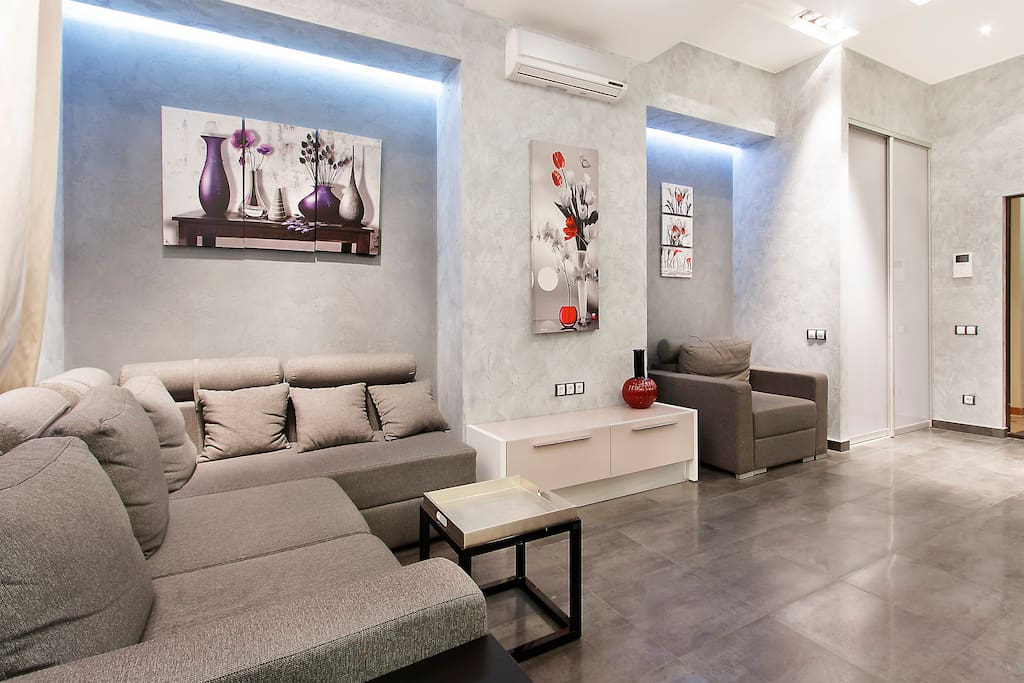 Entertainment area is light and spacious  with very comfortable modern furniture.