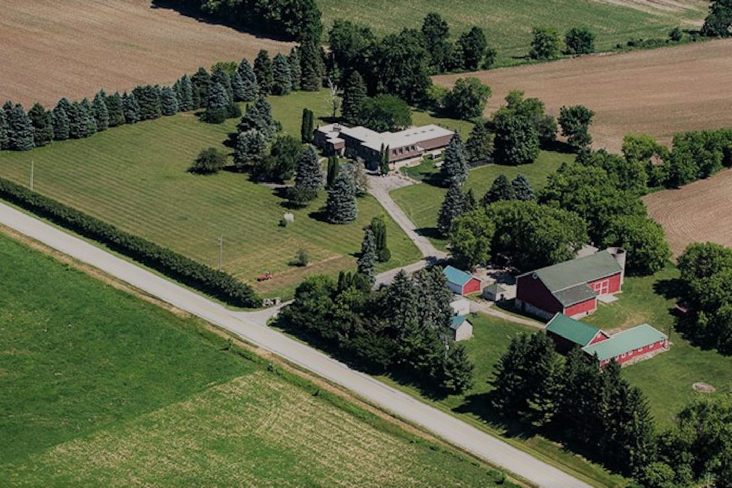 Aerial view of Old Stone House Farm, new flower farm and B&B