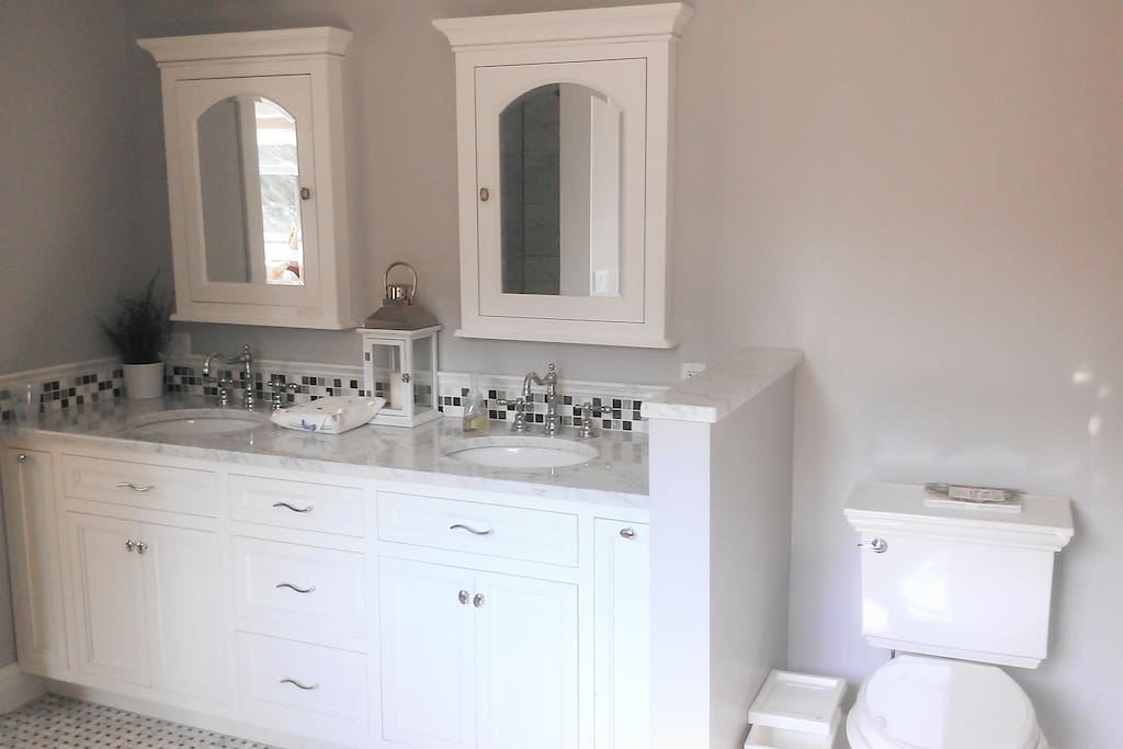 A bathroom to die for!!! Beautiful marble. You really must see to believe. New construction, Marble counter top, double sink, marble floor.