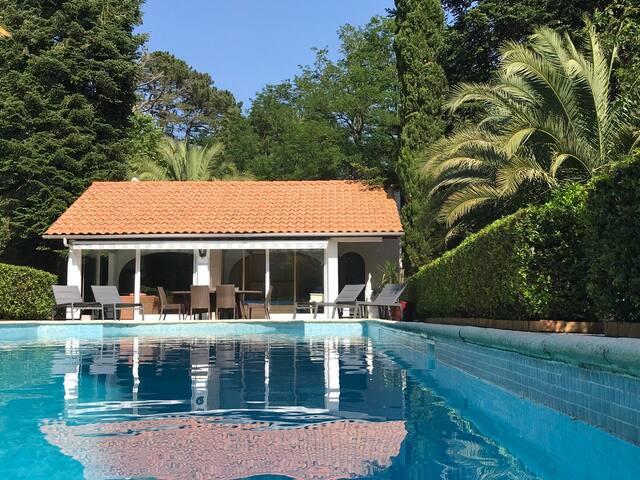Maison pool-house dans propriété avec une vue