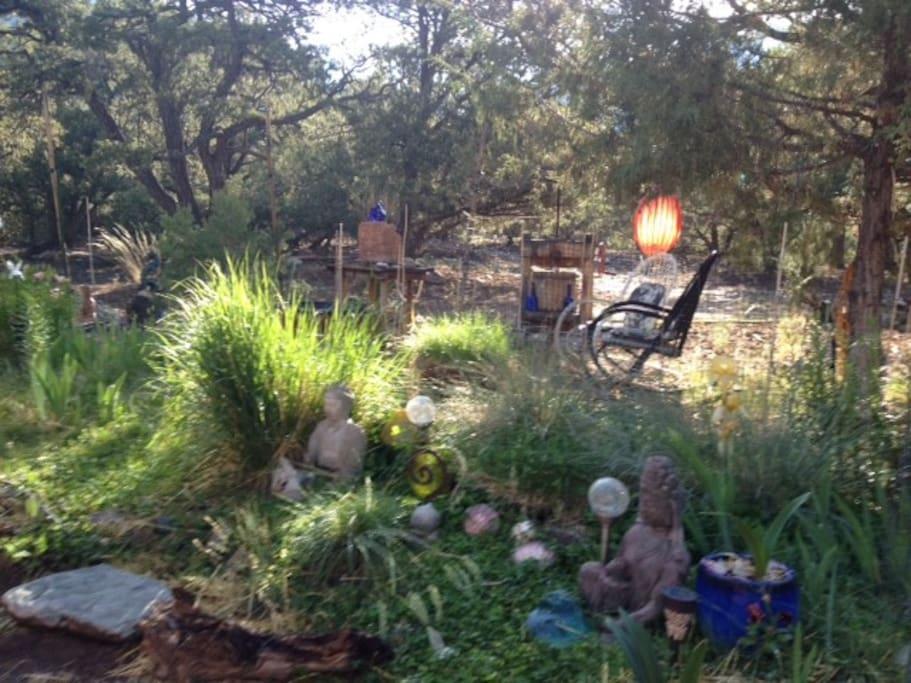 Buddha garden with fountain.