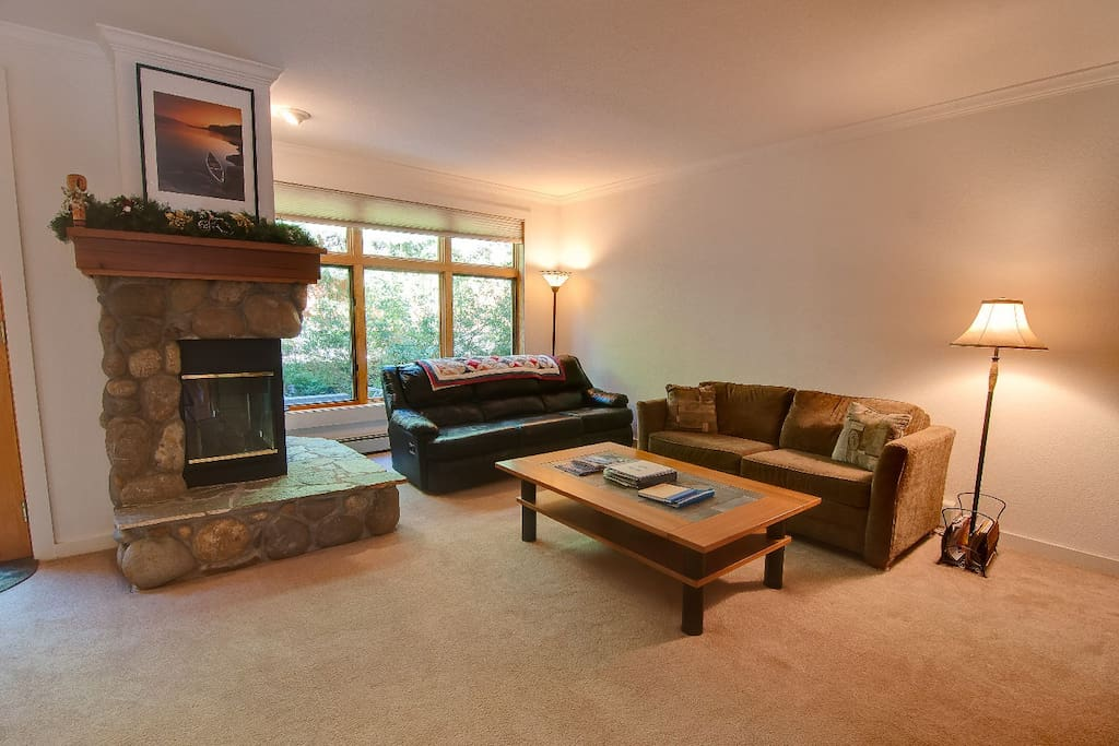Living Room - Comfortable Seating w/ fold-out couch bed and large flat screen TV & DVD