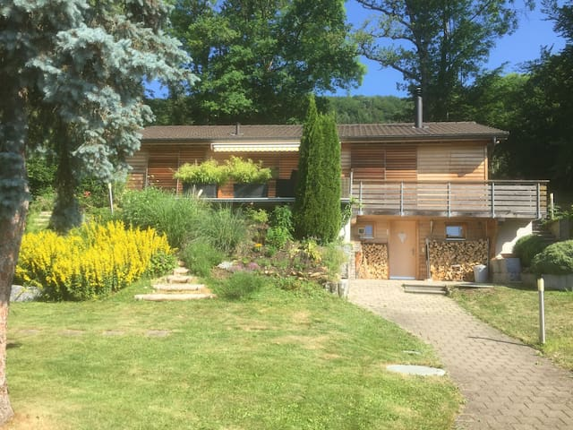 Wooden house surrounded by nature near Basel