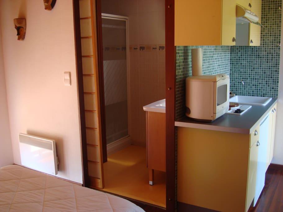 Salle de bain avec douche - WC - Coin cuisine frigo, plaque, micro onde