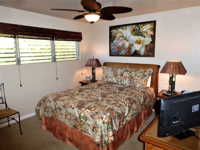 LOUVER WINDOWS AND CEILING FANS TO TAKE ADVANTAGE OF THOSE HAWAIIAN BREEZES