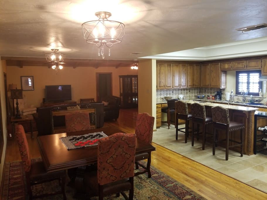 Full kitchen, living room and dining room