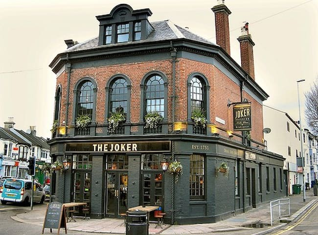 'The Joker' pub at Preston Circus. 5 minutes walk away.