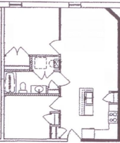 Open layout, two bedrooms, one bath. The queen bedroom is on the top left in this picture, while the king/twin bedroom is on the bottom left; the top right is the living room, and the bottom right is the kitchen.