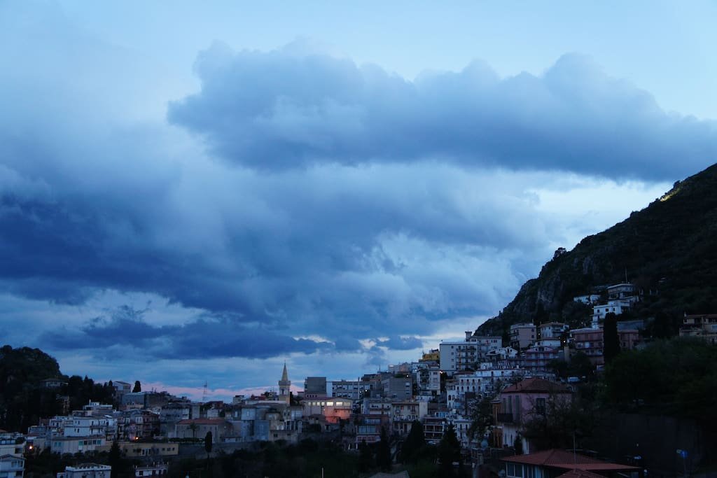 View of Taormina from the balcony at sunset