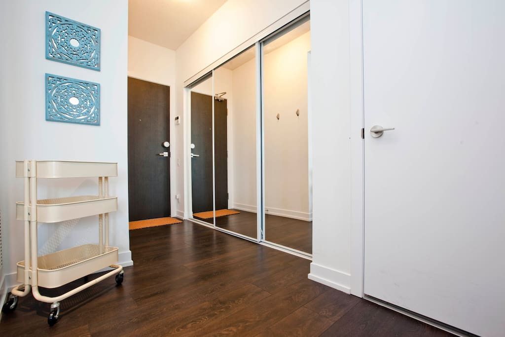 Foyer Area with Large Mirrored Closet