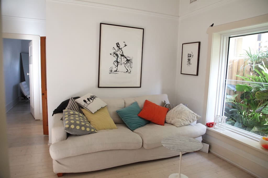 Down-filled, oversized, linen-covered sofa