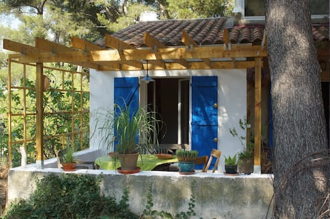 Bedroom & bathroom/WC, shaded terrace SORMIOU.