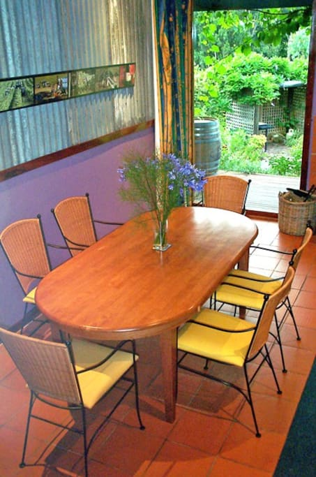 A huge dining area caters for one, two or three couples