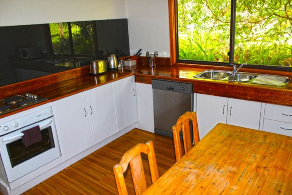 Cottage 3 has a separate kitchen including table, dishwasher, microwave and oven