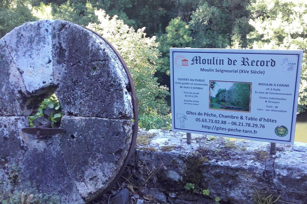 Meule à l'entrée de la propriété du Moulin