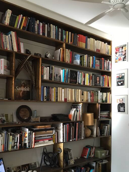 The bookshelf, your host's pride and joy.