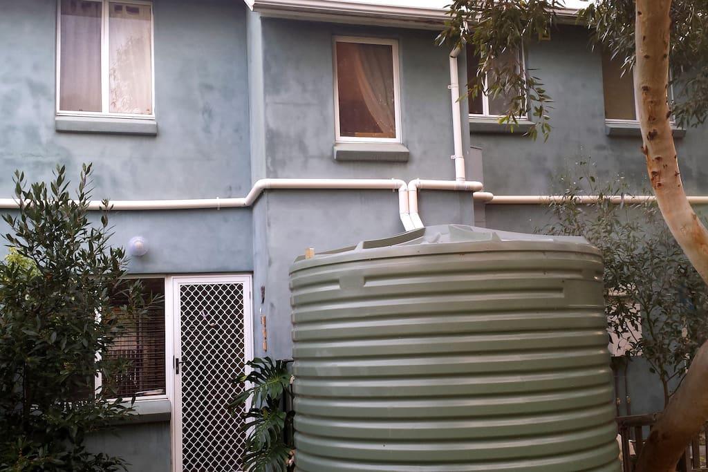 rainwater flushes the toilet