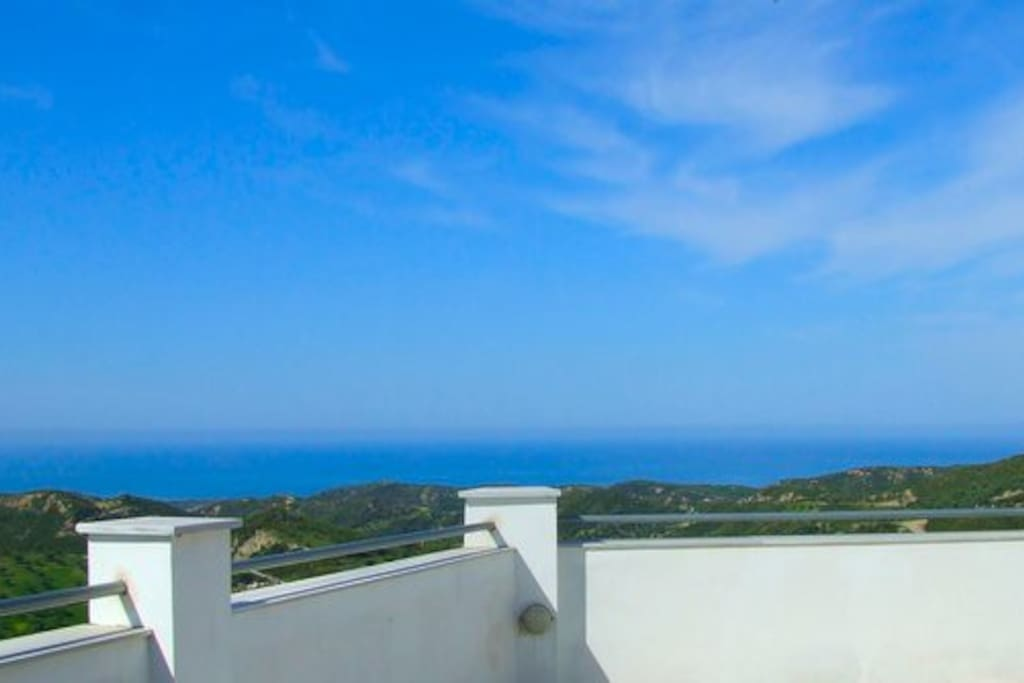View from the roof terrace of the Gulf of Kyparissia and the Ionian Sea