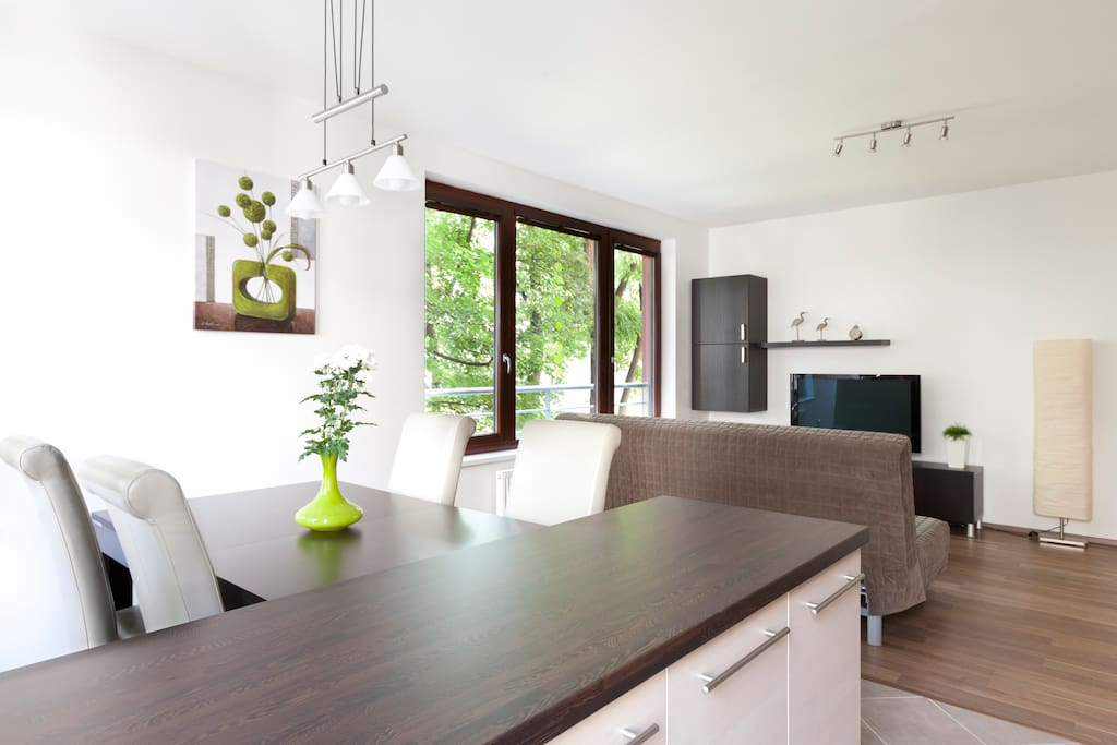 apartment with large windows which make it very bright