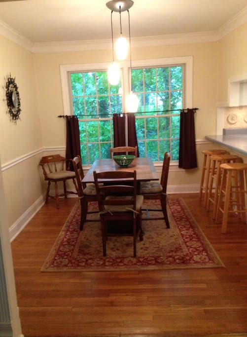 Plenty of room to eat or work at the dining room table or sit at the counter for a quick meal.