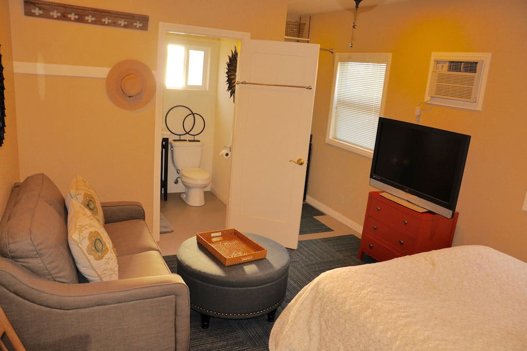 Charming room includes queen size bed, flat screen TV, plenty of windows, and cozy sitting area,.