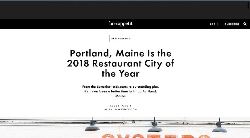NEWS FLASH: August 7, 2018 Excellent article on Portland's amazing food experiences!
