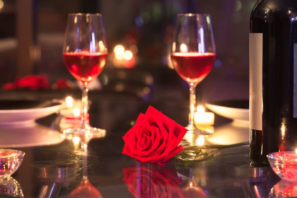 Sparks the romance with a candle light dinner for two.