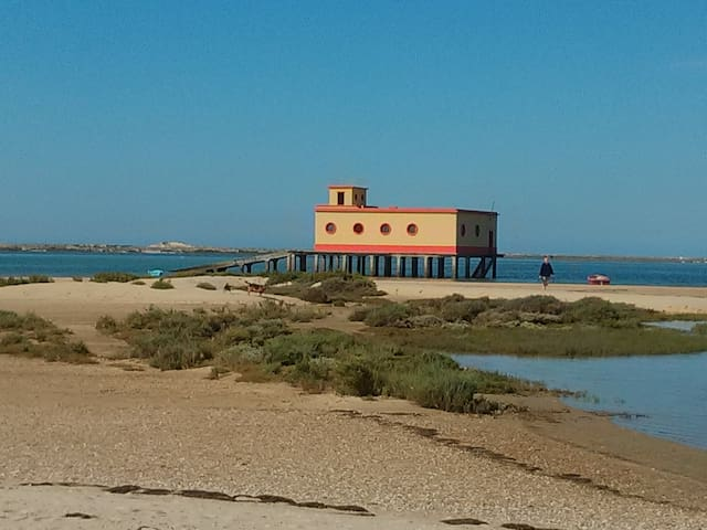 Fuseta's iconic lifeboat station in winter