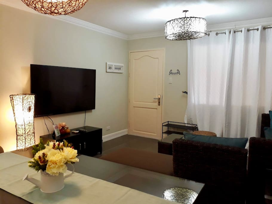 Living Room with cable TV and DVD player