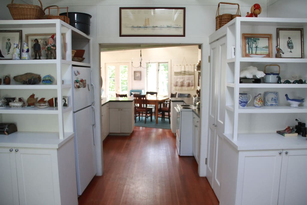 The entry looking through kitchen to family room.