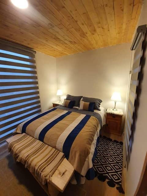 Malalcahuello Lodge, 5 personas 2D/2B, calefacción central, cercano centro sky y termas, estacionamiento.