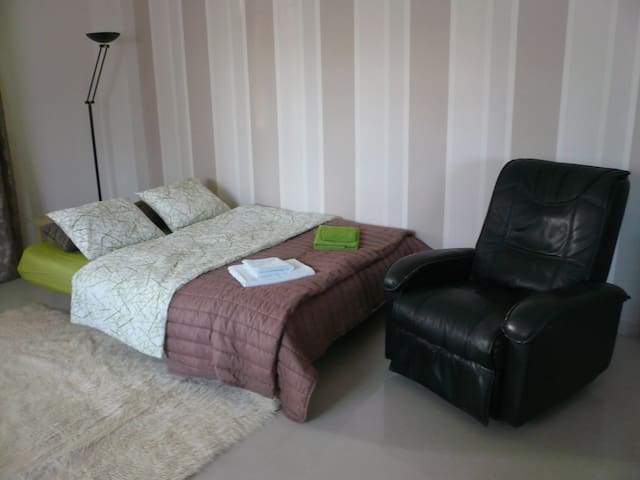 living room - opened couch with armchair