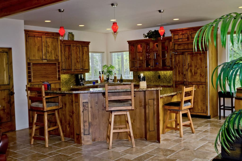 Gourmet Kitchen with Sub Zero Refrigerator and Gas Range